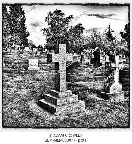 Headstones on cemetery, Seattle, Washington, United States