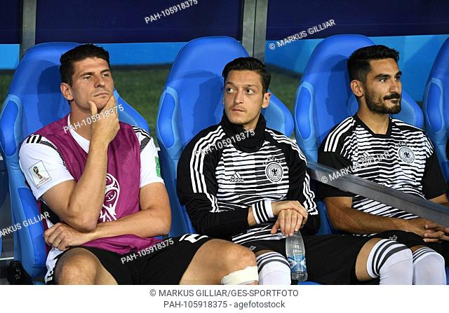 Mario Gomez (Germany), Mesut Oezil (Germany) / l. and Ilkay Guendogan (Germany) / r before the match on the bench / bench