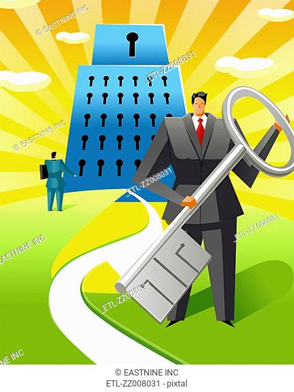 Businessman holding a key in front of a lock shaped building with another businessman looking at it