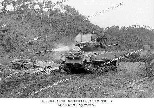 KOREA Yang Gu -- 02 Aug 1951 -- A tank of Company C, 72nd Tank Battalion, US Army 2nd Infantry Division, waiting their turn to fire on Hill 773