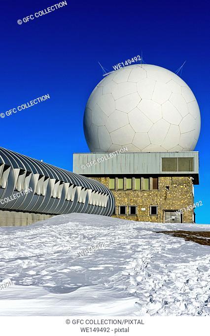 Radome of the flight control centre Skyguide, radar installations on the peak La Dole, Jura Mountains, Saint-Cergue, Vaud, Switzerland
