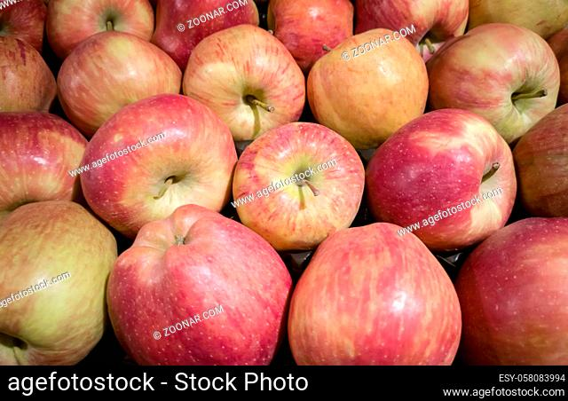 Fresh juicy red apples, healthy food concept. Presented in close-up