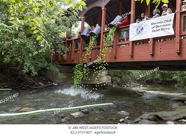Dearborn, Michigan - Plastic turtles start a race in the Rouge River during the annual Dearborn homecoming festival. The event is a fundraiser for Kiwanis Club...