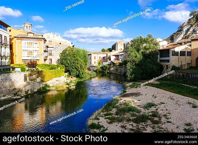 The Ega River crosses the town of Estella. French Way, Way of St. James. Estella - Lizarra, Navarre, Spain, Europe