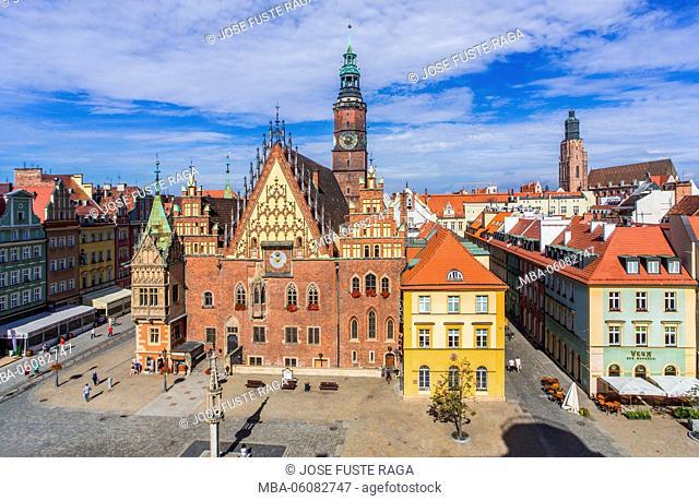 Poland, Wroclaw City, Market Square, Town Hall Building Rynek