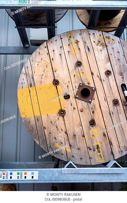 Electrical cable reel at cable storage facility