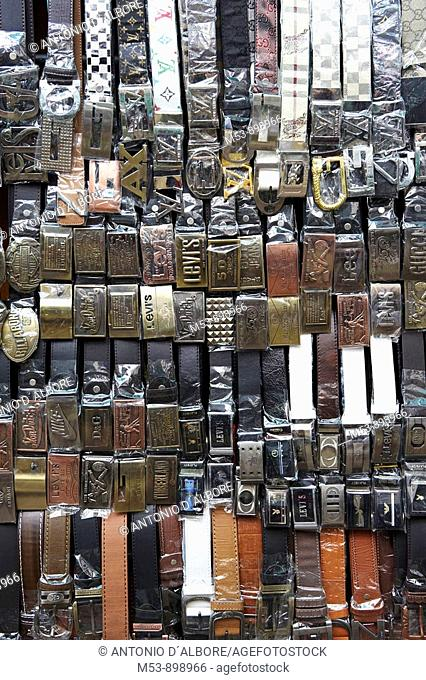 fake branded leather belts on sale in a shop in downtown kuala lumpur  malaysia  asia