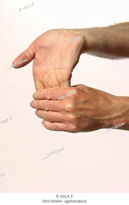 two male hands are streching each other