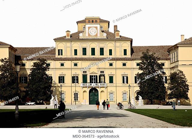 Ducal Palace, by Barozzi Jacopo known as Vignola, 1561, 16th Century, . Italy; Emilia Romagna; Parma; Ducal Palace; . Ducal Palace facade park garden avenue...