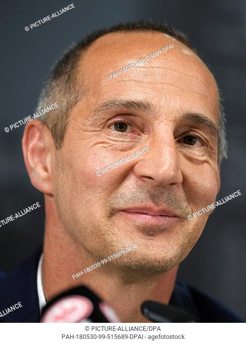 30 May 2018, Germany, Frankfurt/Main: Adi Huetter from Austria, new coach of the DFB Cup winner Eintracht Frankfurt, attending a press conference in the...