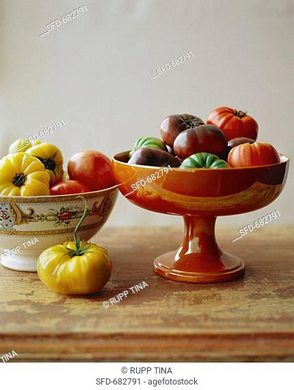 Two Bowls of Various Heirloom Tomatoes