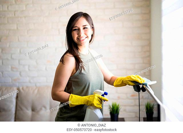 Portrait of a graceful housewife looking at camera while cleaning window blinds