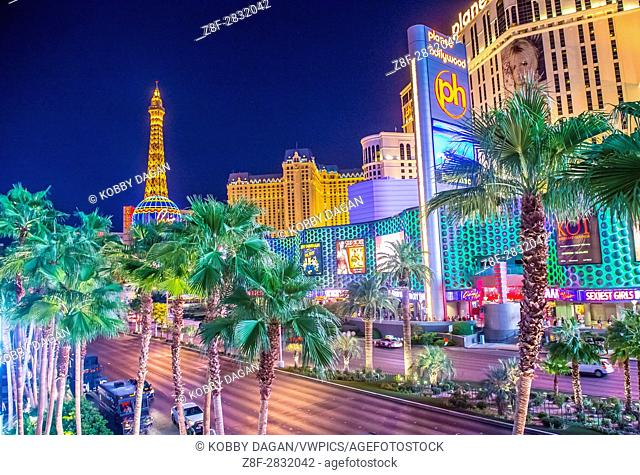 View of the strip in Las Vegas. The Las Vegas Strip is an approximately 4. 2-mile (6. 8 km) stretch of Las Vegas Boulevard in Clark County, Nevada