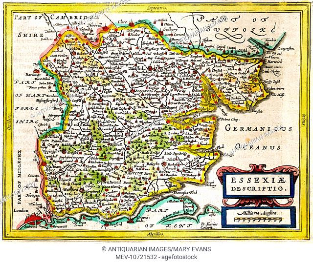 17th century Map of the county of Essex, England