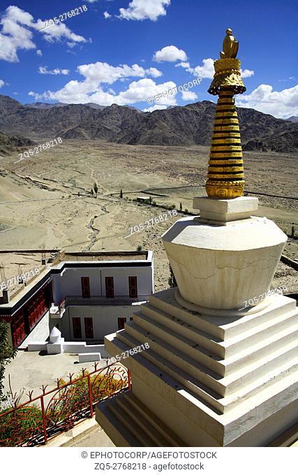 Buddhist chorten of thiksey gompa, Ladakh, Jammu Kashmir, India