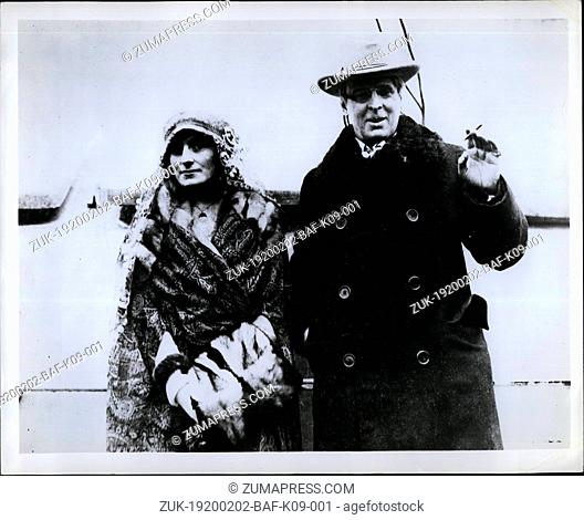 Feb. 02, 1920 - William Butler Yeats: Irish poet and his wife arriving in New York aboard the Carmania for a three months lecture tour of the United States