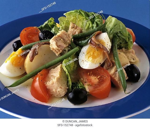 Nicoise Salad with Eggs, Olives, Tuna and Green Beans
