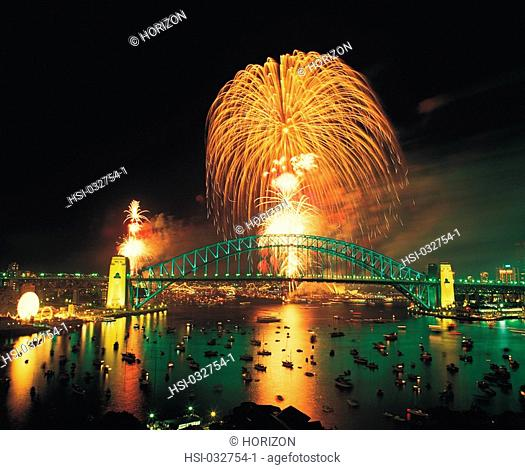 Travel, Australia, New South Wales, Sydney, Fireworks over Harbour Bridge