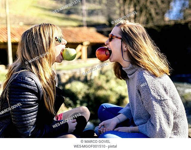 Two playful young women eating apples outside