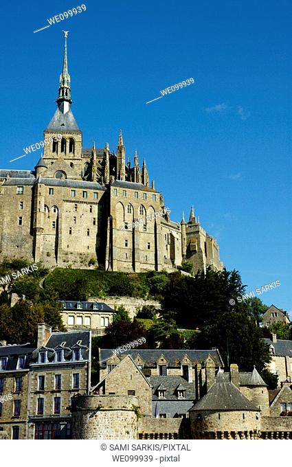 Ramparts of Mont Saint-Michel, a fortified medieval monastery on an island in Normandy, France