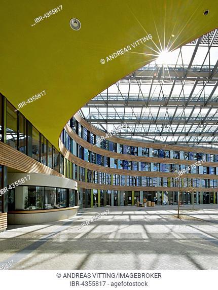 Federal Environment Agency, entrance area, Forum, built in 2005, sauerbruch & hutton architekten, Dessau, Saxony-Anhalt, Germany