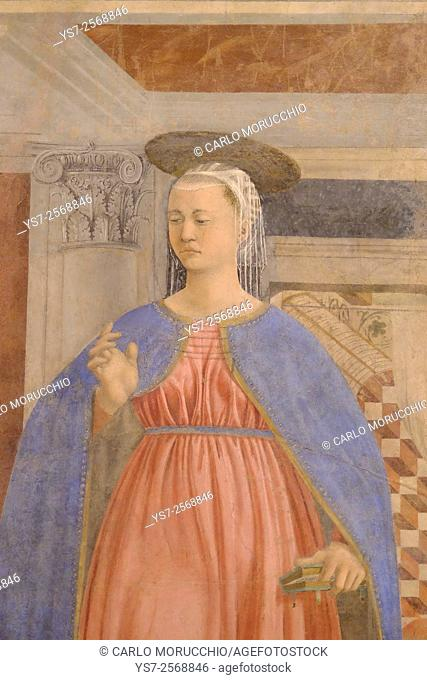 Virgin, Annunciation, Fresco cycle by Piero della Francesca depicting the Legend of the True Cross at the Cappella Maggiore the Major Chapel or chancel of the...