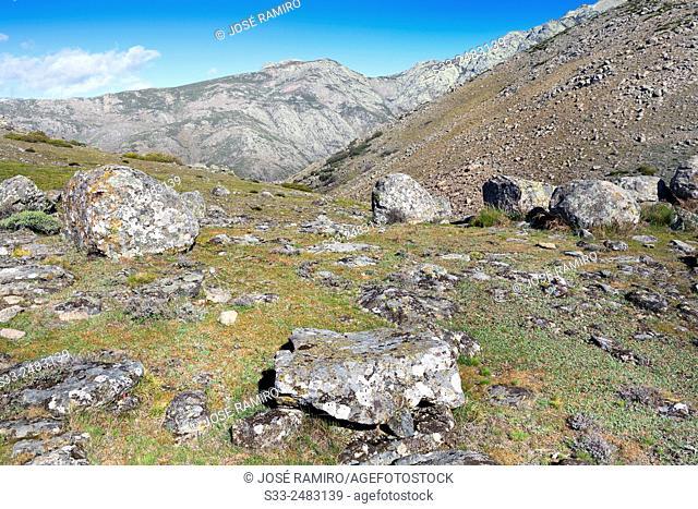 Chilla cliff from Rituerta pass in the Sierra de Gredos. Avila. Castilla Leon. Spain. Europe