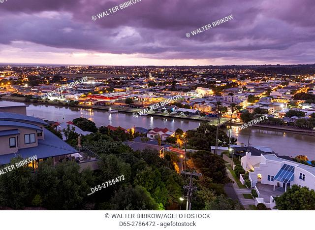 New Zealand, North Island, Wanganui, city skyline from Durie Hill, dusk