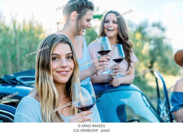 Friends drinking wine in car, Firenze, Toscana, Italy, Europe