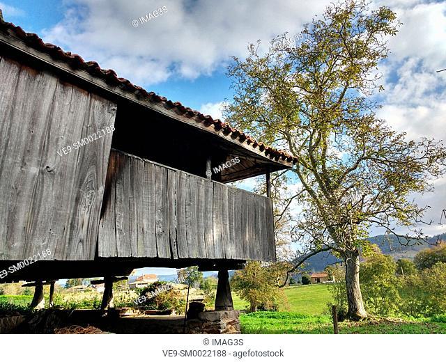 Hórreo in Folgueras village, Pravia munilipality, Asturias, Spain