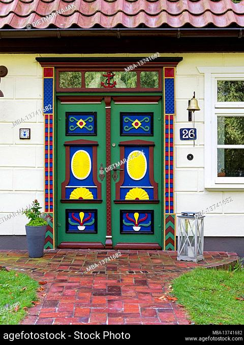 Historic front doors in the Baltic resort of Prerow on the Darß, Fischland-Darß-Zingst, Mecklenburg Western Pomerania, Germany