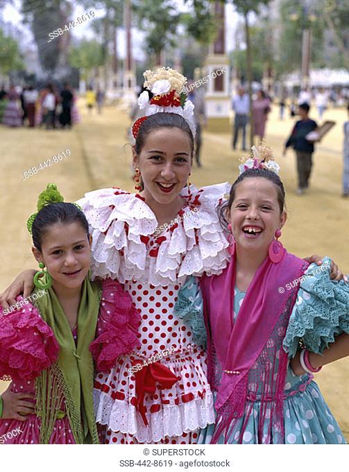 Girls Dressed in Andalusian Costume, Jerez Horse Fair, Jerez de la Frontera, Andalusia, Spain