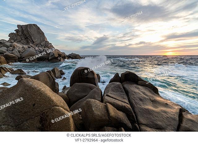 The light of sunset on blue sea framed by cliffs Capo Testa Santa Teresa di Gallura Province of Sassari Sardinia Italy Europe