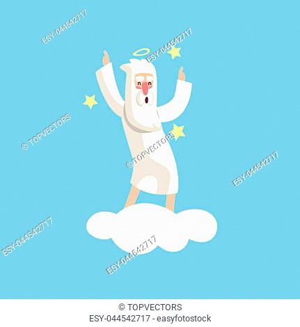 Happy bearded god character dancing on white cloud surrounded with stars. Almighty creator with halo. Cartoon illustration for religious greeting card