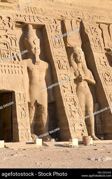 Colossal statues at Hathor temple of queen Nefertari, Abu Simbel, Egypt