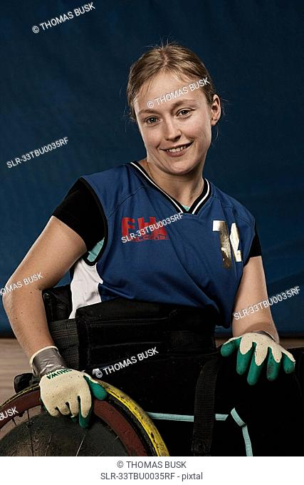 Para rugby player in wheelchair