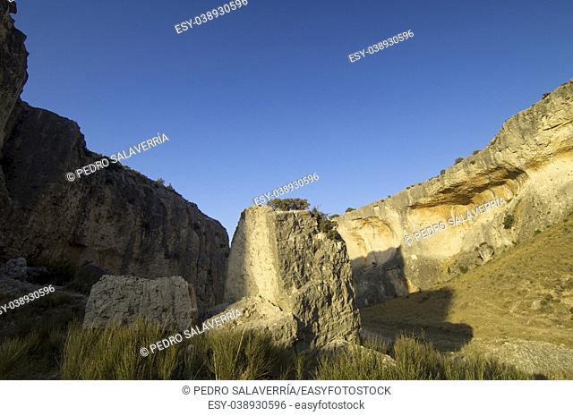 Rock formation in Zafrane Canyon, Zaragoza Province, Aragon, Spain