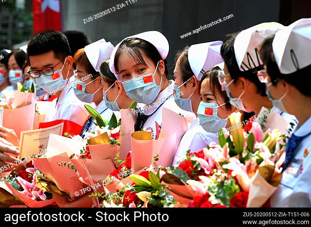 May 12, 2020, Fuzhou, Fujian, China: The nurses were collective cited for their distinguished service in Hubei on the International Nurses Day in Fuzhou, Fujian