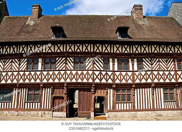 Henry IV house facade, Renaissance time, Saint Valery en Caux, Normandy, France
