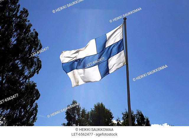 The Finnish flag waves  Keuruu, Finland