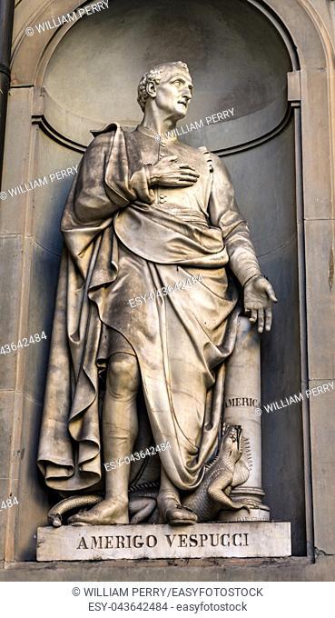 Amerigo Vespucci Italian Navigator Map Maker Painter Statue Famous Florentine Uffizi Gallery Florence Italy. Vespucci first determined that the Americas were a...