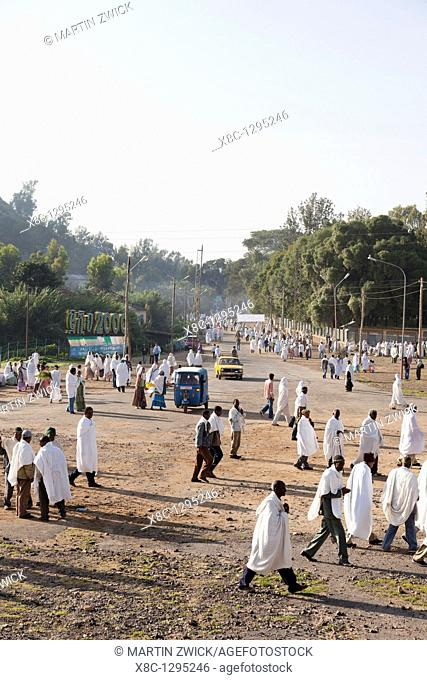 Pilgrims on street in Aksum during Meskel celebration  Africa, East Africa, Ethiopia, Aksum, September 2010
