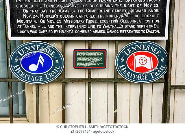 Tennessee Heritage Trail plaques at the Chattanooga CHoo-Choo railway station hotel