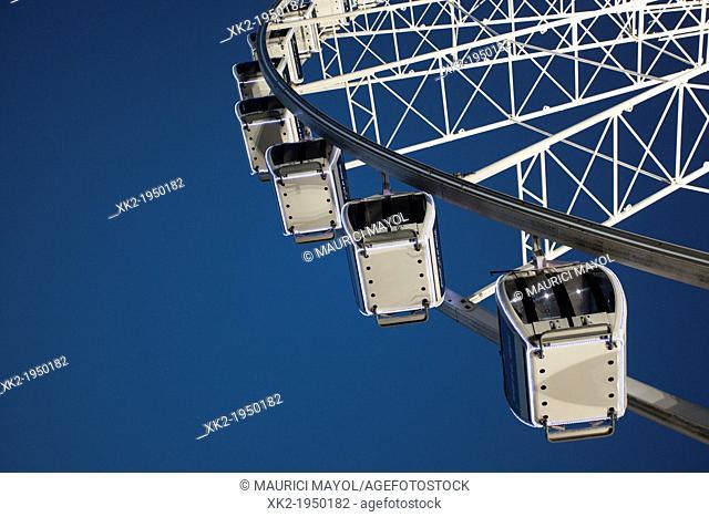 Detail of Ferris wheel viewed from below, Liverpool, UK