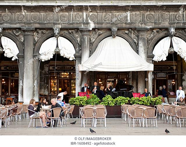 Band in the Caffè Florian on St. Mark's Square, Venice, Veneto, Italy, Europe