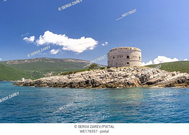 Fort Arza in the Bay of Kotor, Montenegro, in a sunny summer day