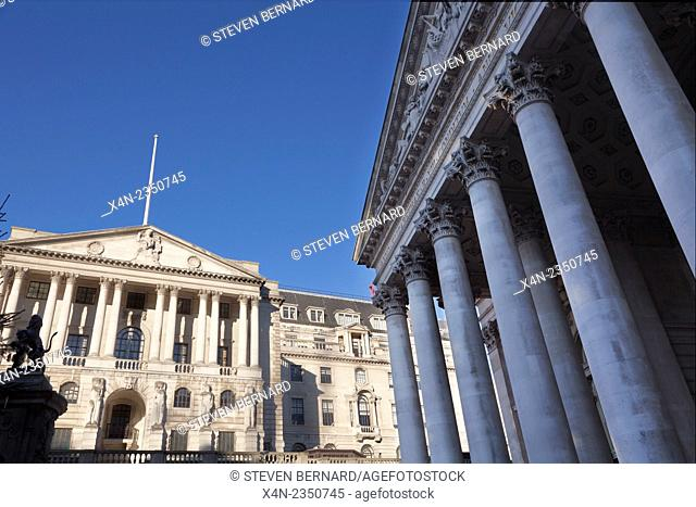 Bank of England (left) and The Royal Exchange on Threadneedle Street in the heart of London's financial district, UK