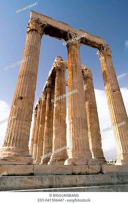 Iconic pillars of Temple of Olympian Zeus, Athens historic center, Attica, Greece