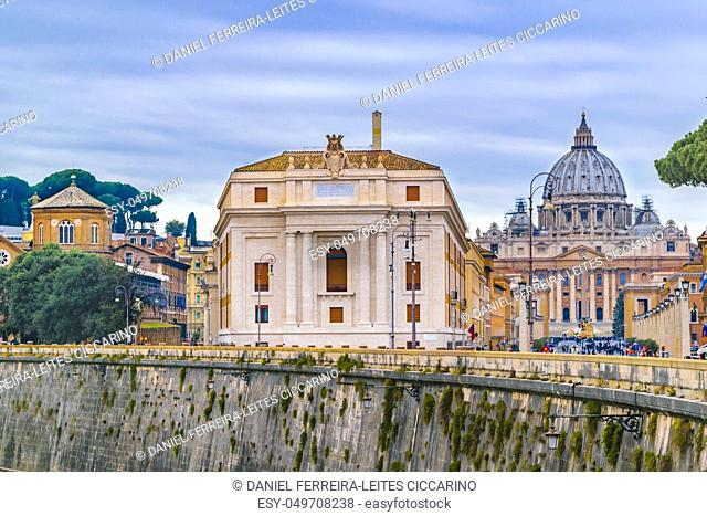 Urban day winter season scene with sain peter cathedral as background, Rome, Italy