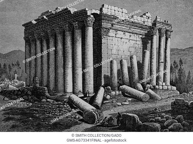 Wood engraving depicting a temple in ruins, broken columns on the ground, captioned 'The Temple of the Sun, Ba'albek, Showing the north and west sides
